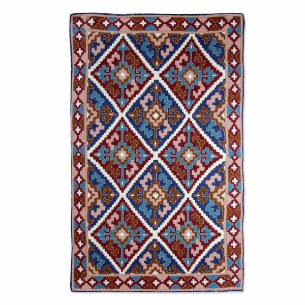 Raseborg Diamond Sky Hand-Woven Wool Brown/Blue Area Rug by Bloomsbury Market