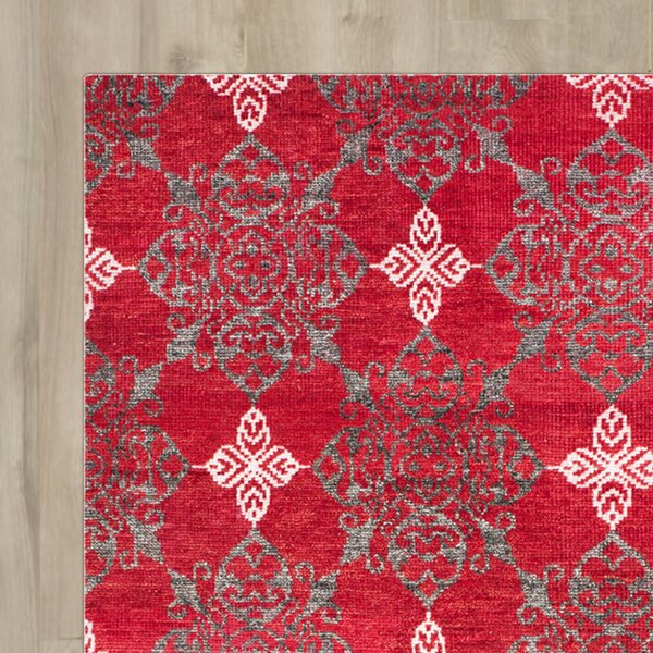 Alarica Griggs Hand-Knotted Red / Ivory Area Rug by Red Barrel Studio