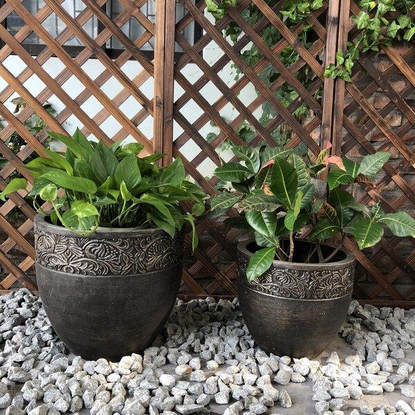 Orford Round Fancy Rim Wash 2-Piece Pot Planter Set by Charlton Home
