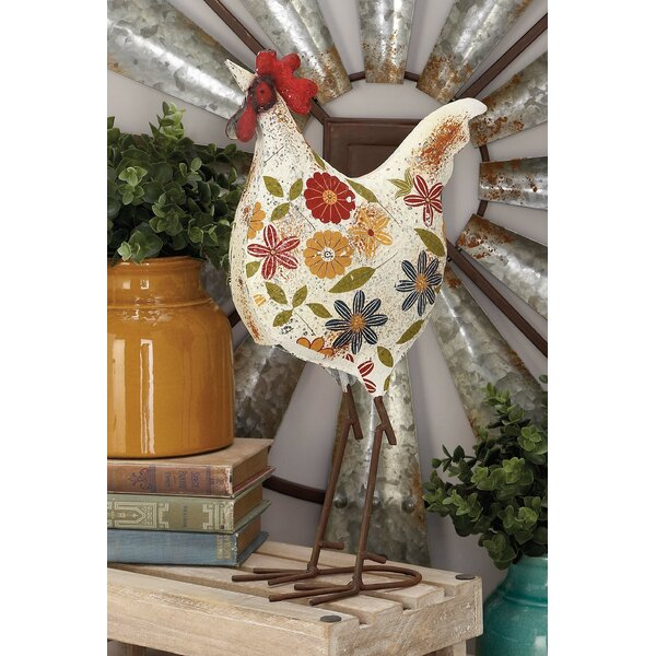 Multi-colored Metal Rooster Figurine by August Grove