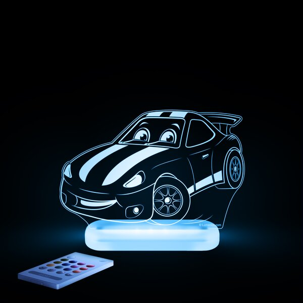 Aloka Starlight Race Car LED 3-Light Night Light with Remote Control by Lumenico