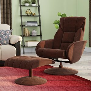 Winnols Microfiber Recliner and Ottoman by Latitude Run