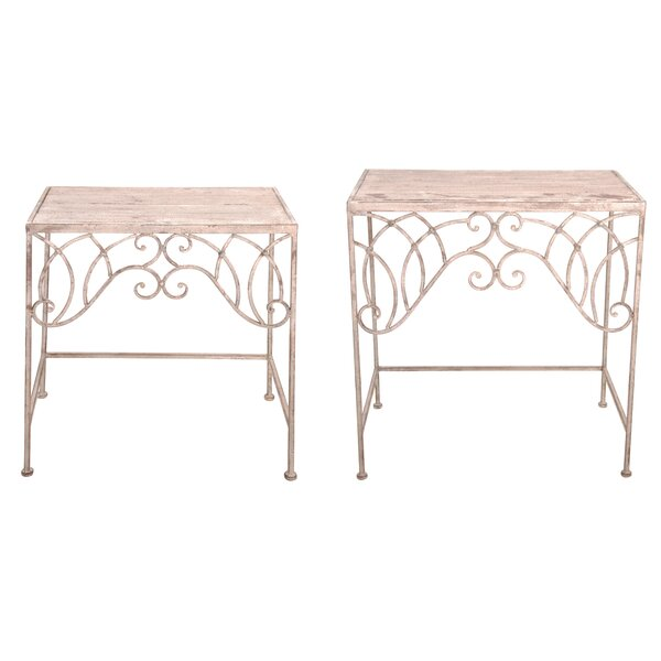 Aged Metal 2 Piece End Table Set By EsschertDesign Great Reviews