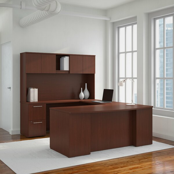 300 Series L-Shaped Executive Desk with Hutch by Bush Business Furniture