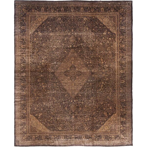 One-of-a-Kind Hand-Knotted 1920 Brown 11'5 x 14'6 Wool Area Rug