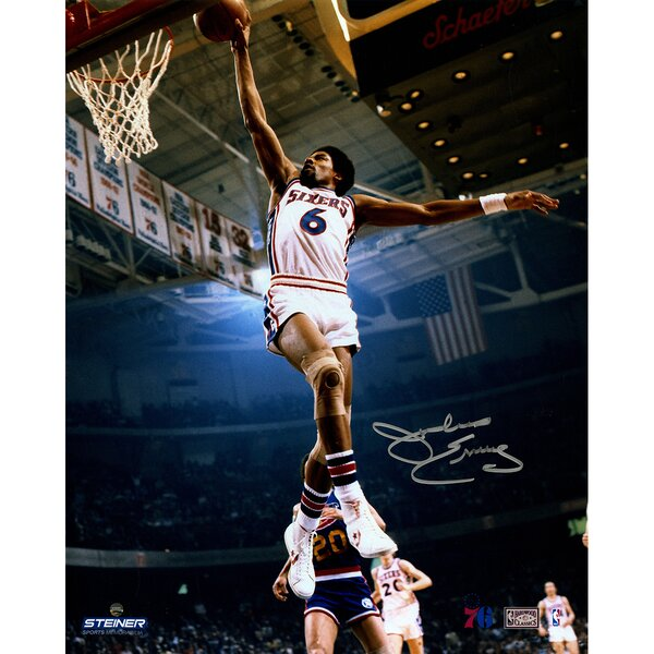 Philadelphia 76ers Julius Erving Dunking Signed Photographic Print by Steiner Sports
