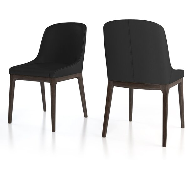 Howell Genuine Leather Upholstered Solid Back Side Chair (Set Of 2) By 17 Stories