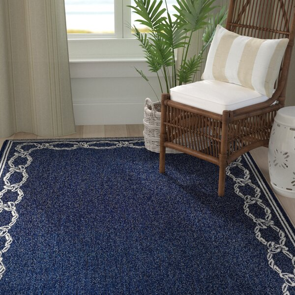 Dillow Rope Knot Blue Indoor/Outdoor Area Rug by Breakwater Bay