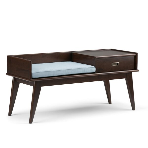 Draper Mid Century Upholstered Storage Entryway Bench by Simpli Home