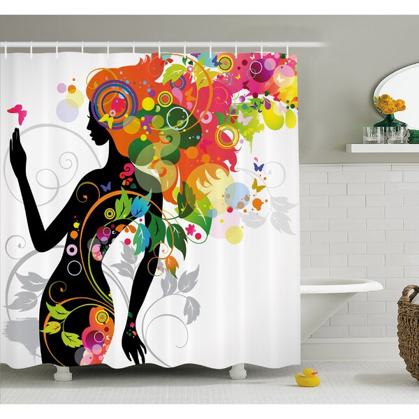 Butterfly Modern Version with Spring Spiral Circles Leaf Botany Shower Curtain Set by Ambesonne
