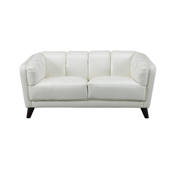 Zainab Craft Leather Loveseat by Corrigan Studio