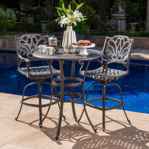 Burrowes 3 Piece Bar Height Dining Set by Fleur De