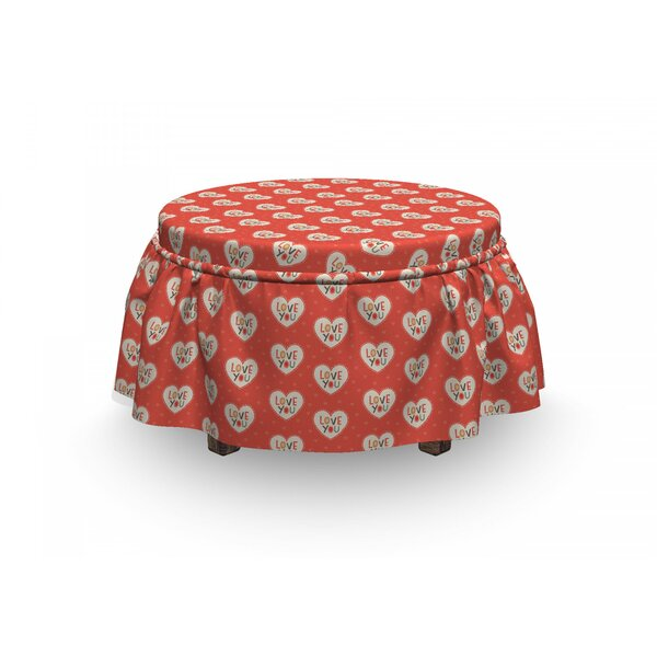 Love Hipster Hearts Valentines 2 Piece Box Cushion Ottoman Slipcover Set By East Urban Home