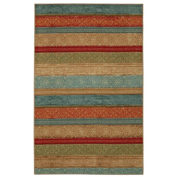 Elnora Samsun Batik Stripe Tan/Blue Area Rug by Bloomsbury Market