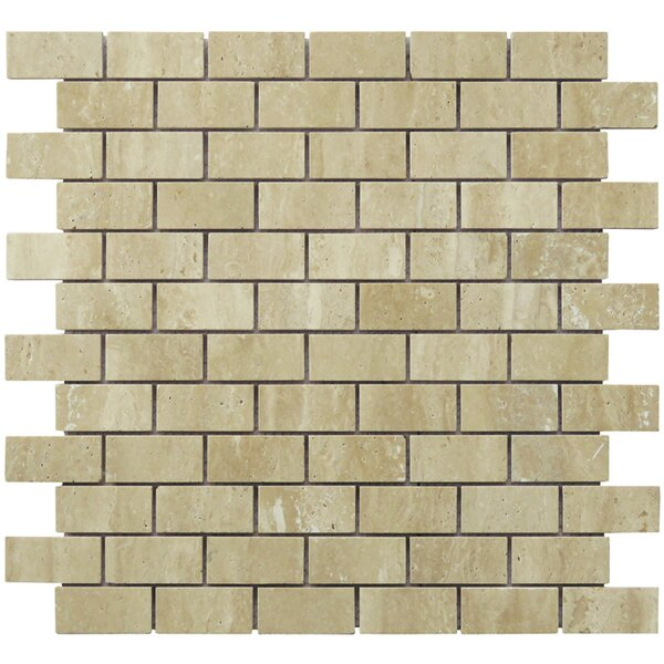 Mini Brick Pattern 1 x 2 Travertine Natural Stone Mosaic Tile in Tan by Intrend Tile