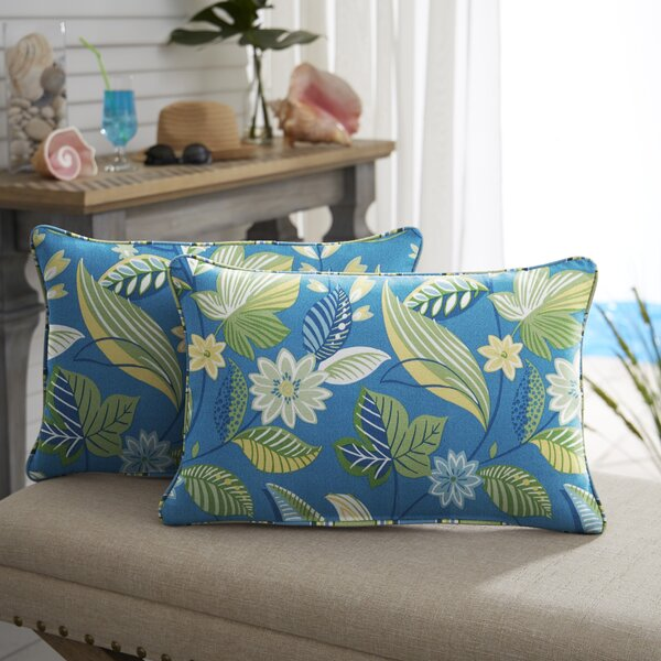 Whitmer Floral Indoor/Outdoor Lumbar Pillow (Set of 2) by Winston Porter