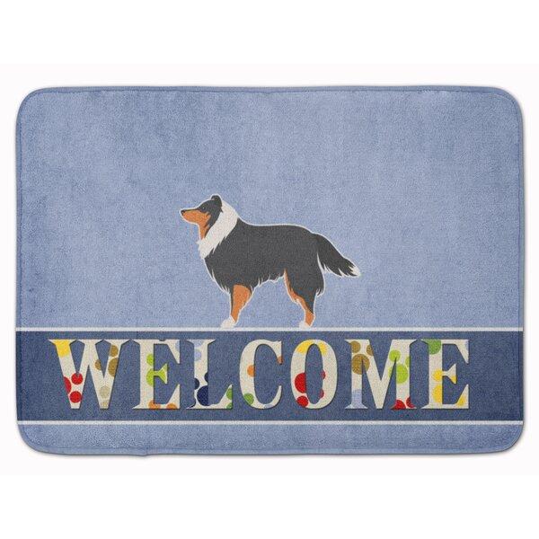Sheltie/Shetland Sheepdog Welcome Rectangle Microfiber Non-Slip Bath Rug
