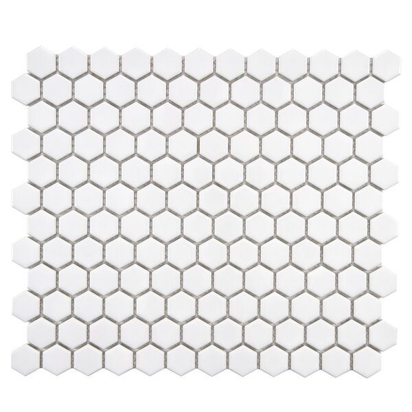 Retro 1 x 1 Porcelain Mosaic Tile in Glossy White by EliteTile