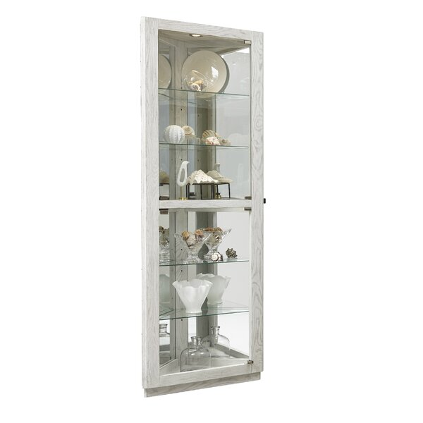 Lowder Dual Door 5 Shelf Lighted Corner Curio Cabinet by Highland Dunes