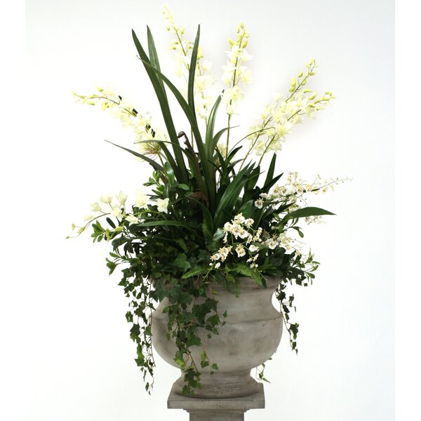 Silk Orchid and Agapanthus Mix with Ivy and Fern in Corina Urn by Distinctive Designs