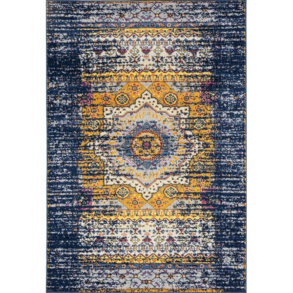 Penson Transitional Orange/Navy Area Rug by Bungalow Rose