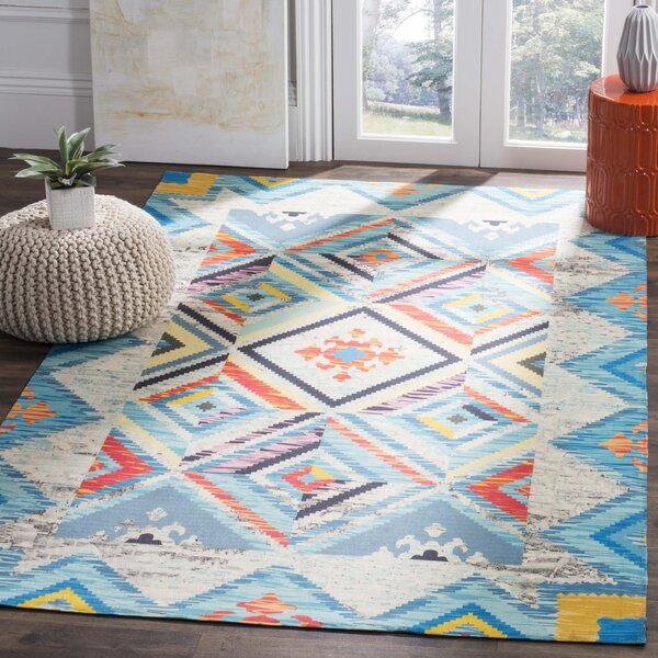 Sonakshi Hand Tufted Blue Geometric Area Rug by Bungalow Rose