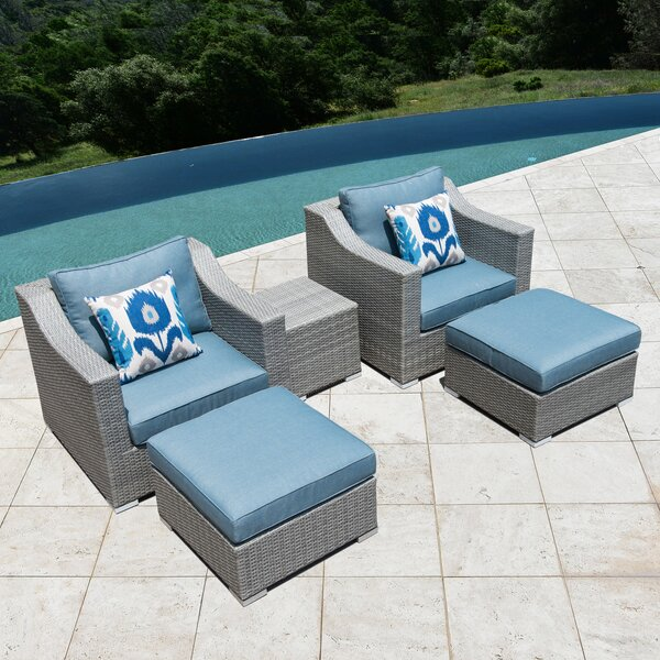 Bowser 5 Piece Conversation Set with Cushions by Rosecliff Heights