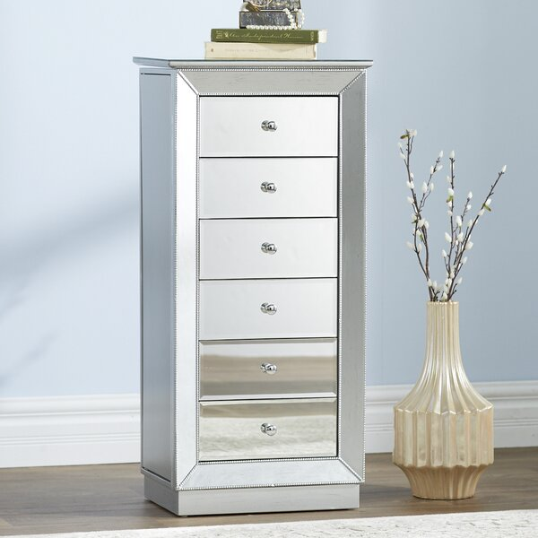 Febe Free Standing Jewelry Armoire with Mirror by