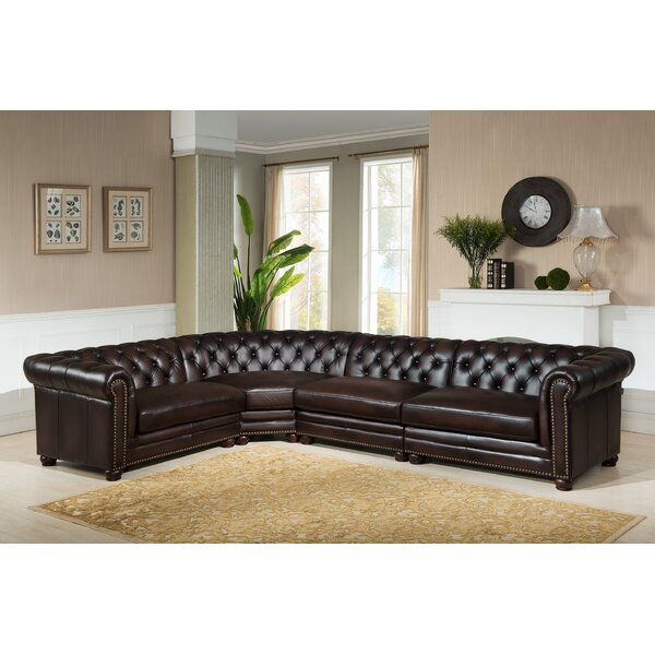 Lesa Leather Modular Sectional by Canora Grey