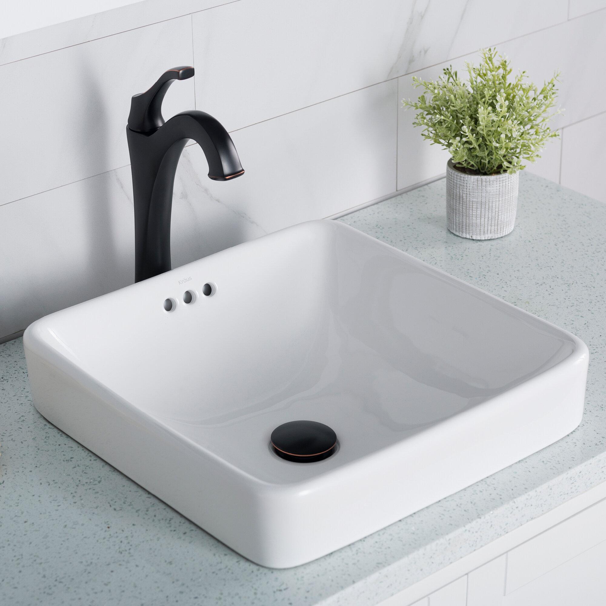 KCR-281 Kraus Elavo Ceramic Square Semi-Recessed Bathroom Sink with Overflow & Reviews | Wayfair