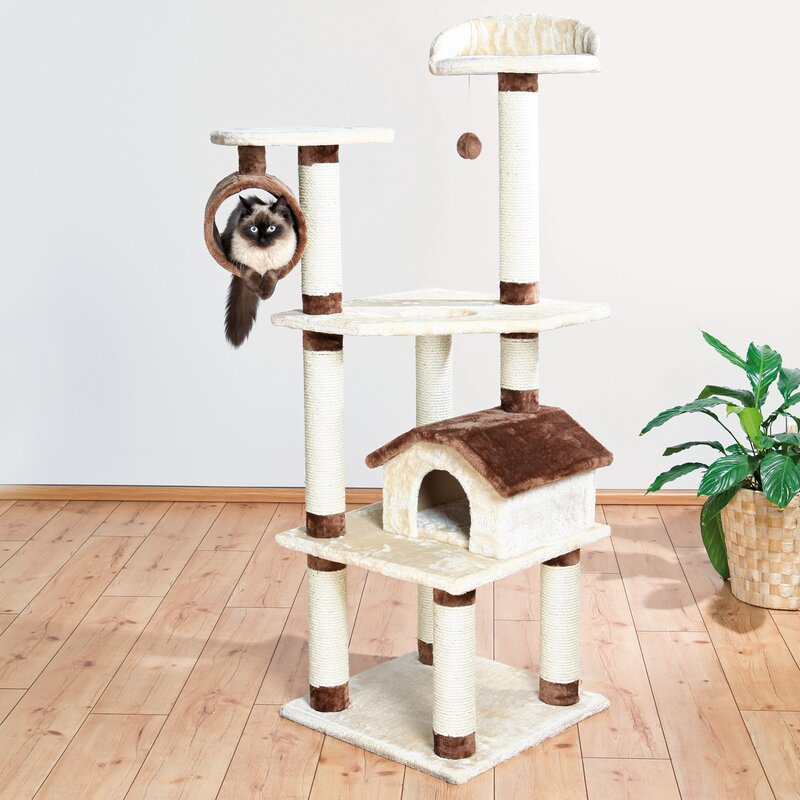 Multi Level Compact Cat Tree With House For Multiple Cats