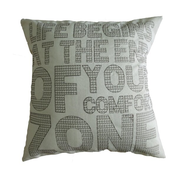 Inspirational Quote Decorative Embroidered Print Burlap Throw Pillow by Violet Linen