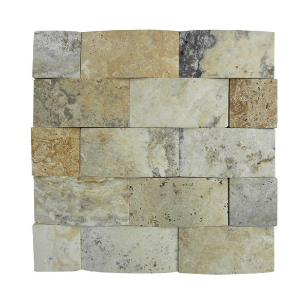 3D Honed 2 x 4 Natural Stone Mosaic Tile in Beige/Gray by QDI Surfaces