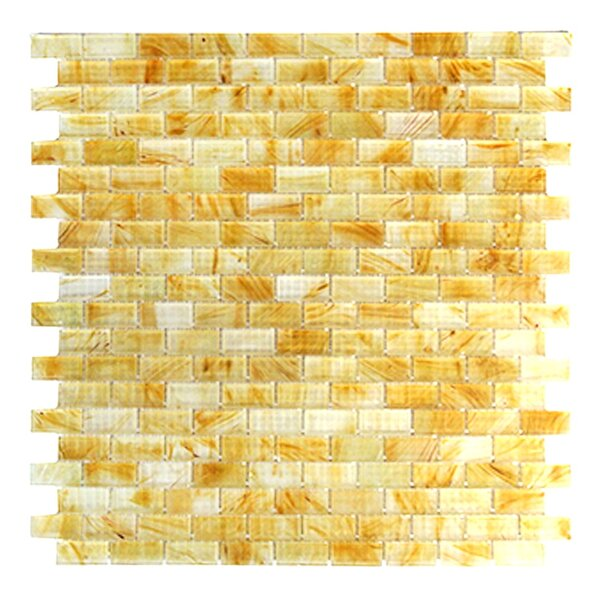 Amber 0.63 x 1.25 Glass Mosaic Tile in Frosted Brushed Gold by Abolos