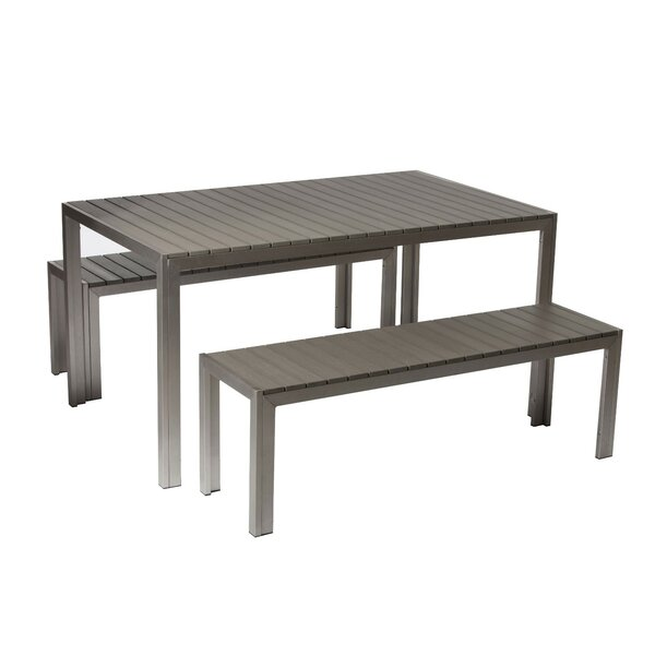 Abram Effortlessly Uncomplicated Anodized Aluminum 3 Piece Dining Set by Corrigan Studio