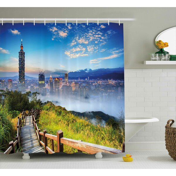 Alyson Scenery Beautiful Scenery of a City Cosmopolitan Life and Nature With Bridge Print Shower Curtain by Ebern Designs