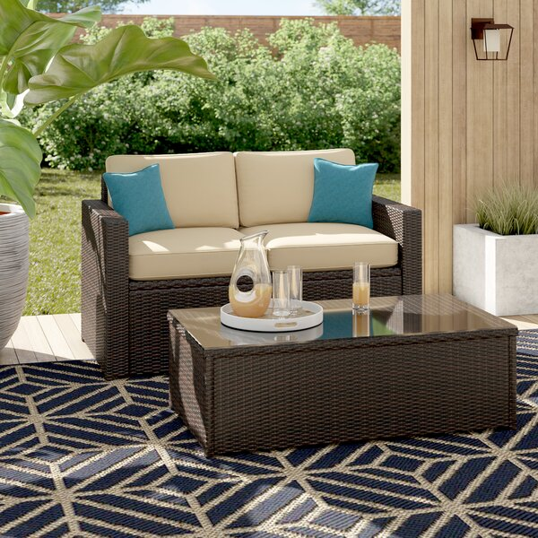 Belton 2 Piece Rattan Sofa Set with Cushions by Mercury Row