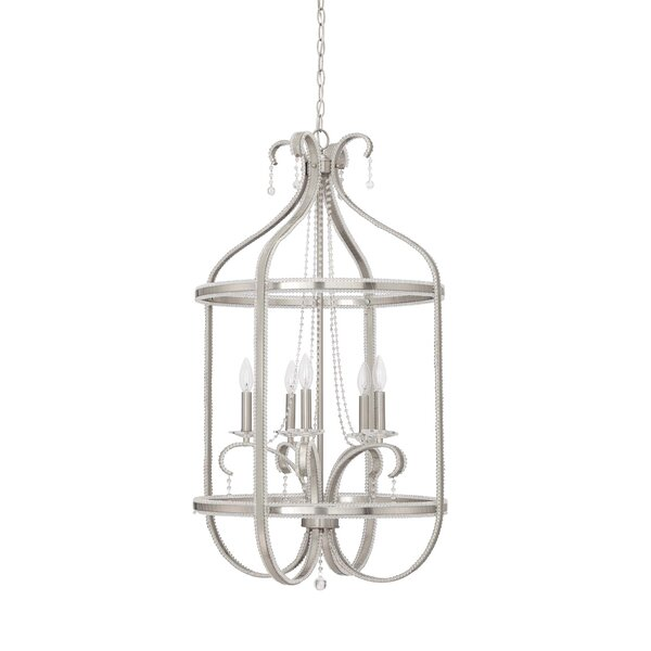 5 - Light Unique / Statement Geometric Chandelier With Wrought Iron Accents By Rainbow Lighting