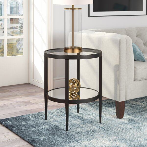 Abington Glass Top End Table With Storage By Ebern Designs