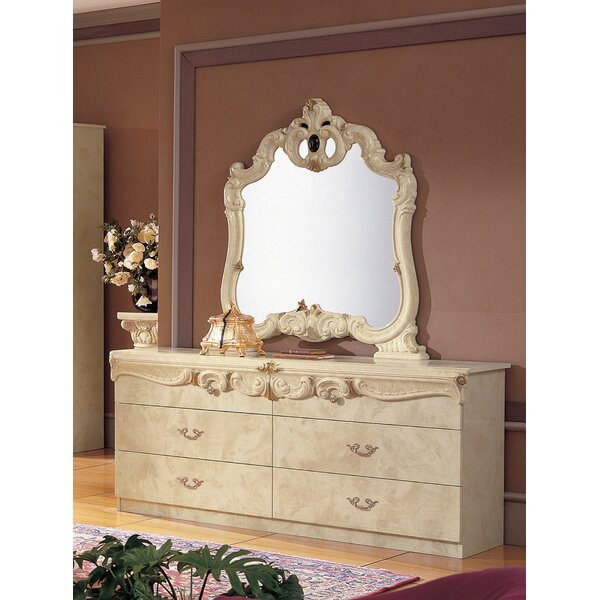 Alexzander 4 Drawer Double Dresser with Mirror by Astoria Grand
