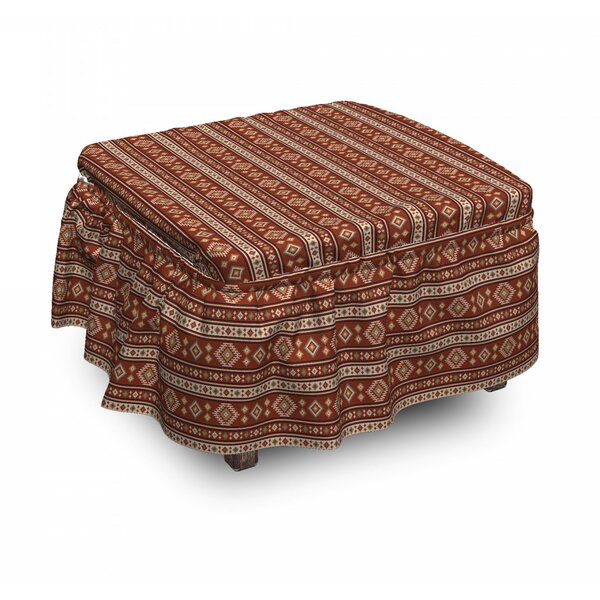 Timeless Rhombus Motifs Ottoman Slipcover (Set Of 2) By East Urban Home