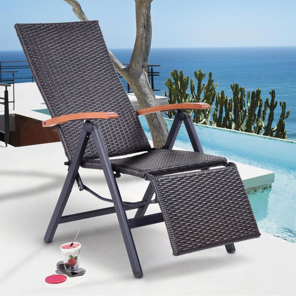 Kutsi Patio Garden Folding Reclining Chaise Lounge with Table by Latitude Run Latitude Run