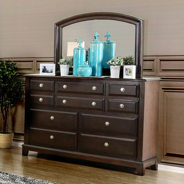 Luanne 10 Drawer Double Dresser with Mirror by Canora Grey