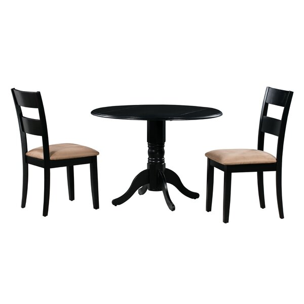 Angela 3 Piece Drop Leaf Solid Wood Dining Set by Alcott Hill