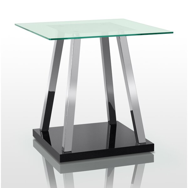 Dimitrov Glass Top End Table By Orren Ellis