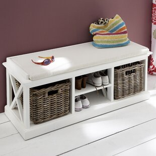 Best Review Fairmead Wood Storage Bench By Breakwater Bay