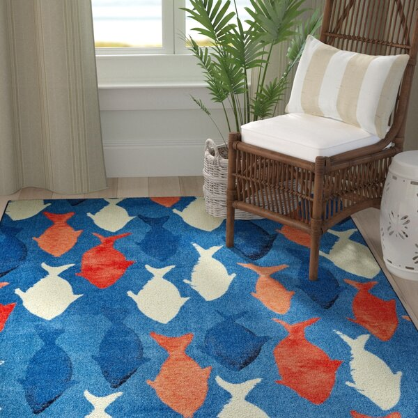 Wildermuth Coastal Catch Navy Area Rug by Breakwater Bay
