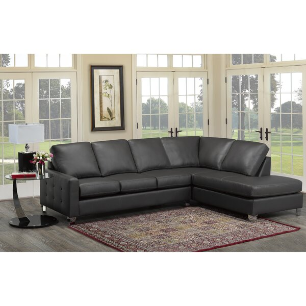 Preesall Italian Leather Sectional by Orren Ellis