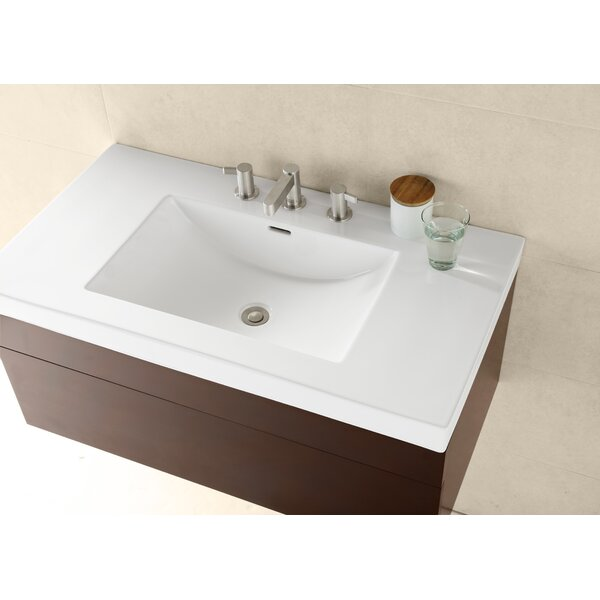 Evin Ceramic Rectangular Drop-In Bathroom Sink with Overflow by Ronbow