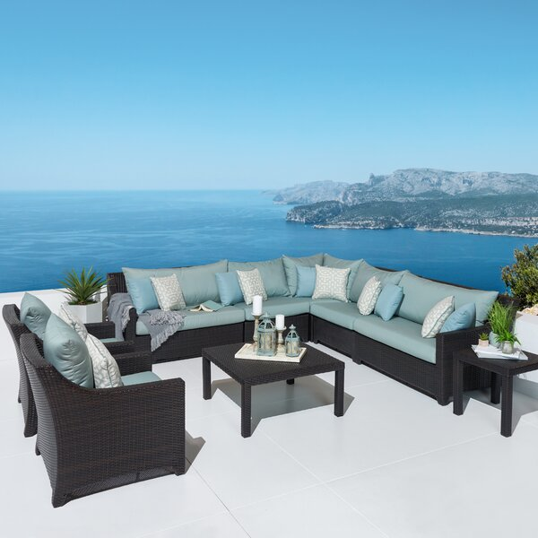 Northridge 9 Piece Rattan Sunbrella Sectional Seating Group with Cushions by Three Posts